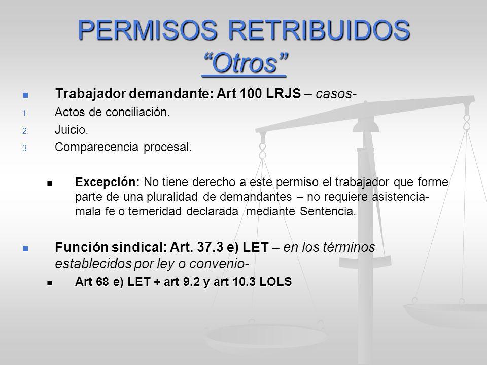 PERMISOS RETRIBUIDOS Otros Trabajador demandante: Art 100 LRJS Trabajador demandante: Art 100 LRJS – casos- 1. 1. Actos de conciliación. 2. 2. Juicio.