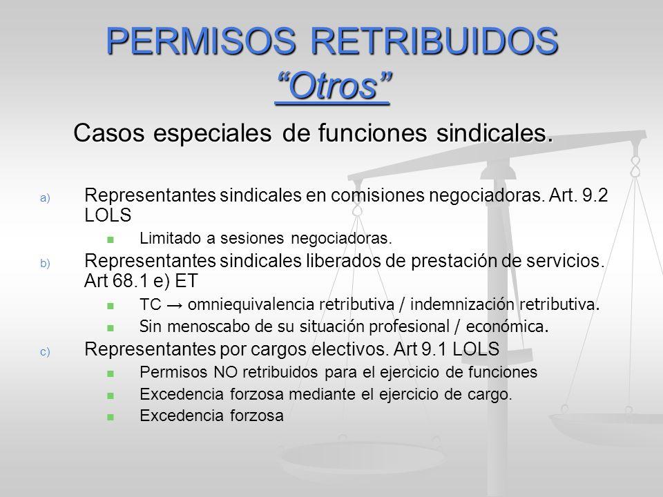 PERMISOS RETRIBUIDOS Otros Casos especiales de funciones sindicales. a) a) Representantes sindicales en comisiones negociadoras. Art. 9.2 LOLS Limitad
