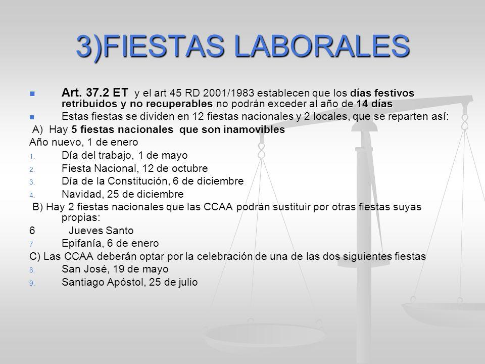 3)FIESTAS LABORALES Art. 37.2 ET y el art 45 RD 2001/1983 establecen que los días festivos retribuidos y no recuperables no podrán exceder al año de 1