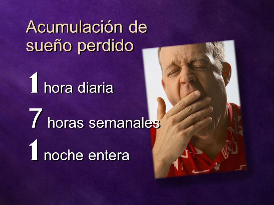 Acumulación de sueño perdido 1 hora diaria 7 horas semanales 1 noche entera 1 hora diaria 7 horas semanales 1 noche entera