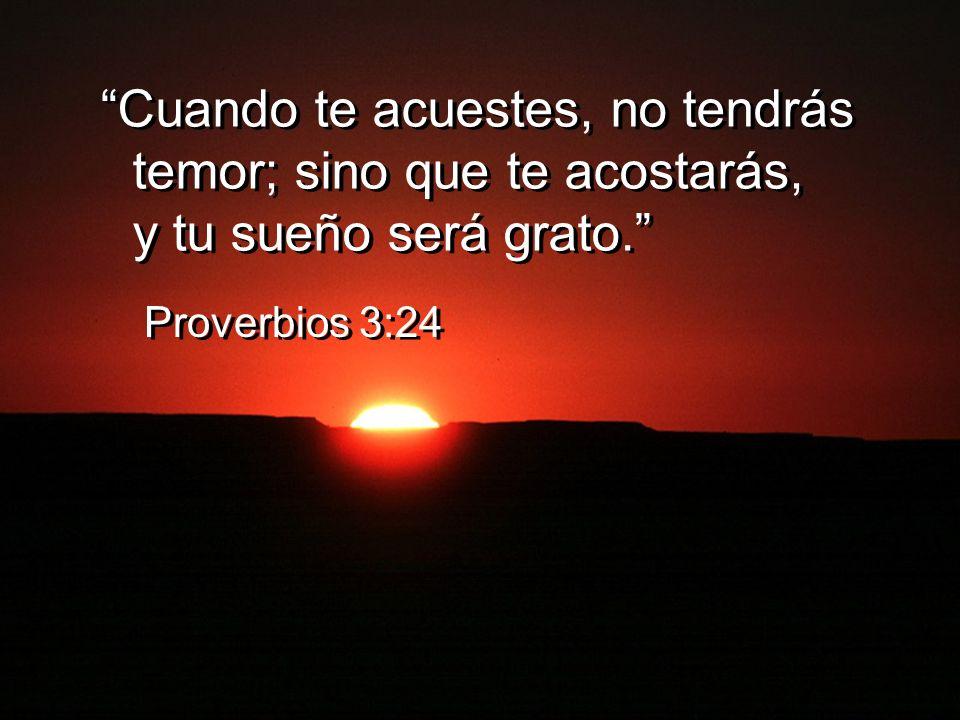 Cuando te acuestes, no tendrás temor; sino que te acostarás, y tu sueño será grato. Proverbios 3:24