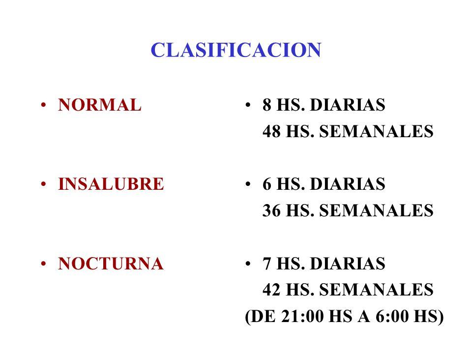 CLASIFICACION NORMAL INSALUBRE NOCTURNA 8 HS. DIARIAS 48 HS. SEMANALES 6 HS. DIARIAS 36 HS. SEMANALES 7 HS. DIARIAS 42 HS. SEMANALES (DE 21:00 HS A 6: