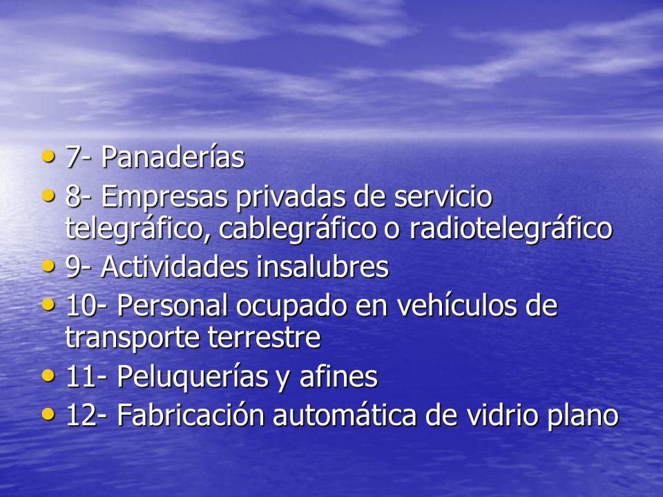 7- Panaderías 7- Panaderías 8- Empresas privadas de servicio telegráfico, cablegráfico o radiotelegráfico 8- Empresas privadas de servicio telegráfico