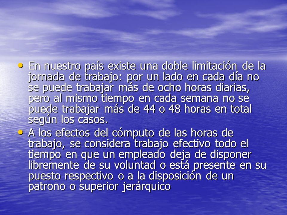 La Constitución uruguaya establece en su artículo 54, la obligación del establecimiento por ley de la limitación de la jornada laboral sin indicar un número determinado de horas.