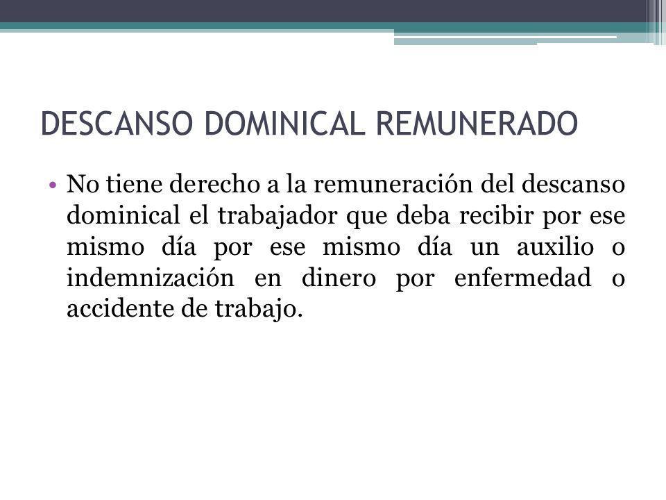 DESCANSO DOMINICAL REMUNERADO No tiene derecho a la remuneración del descanso dominical el trabajador que deba recibir por ese mismo día por ese mismo