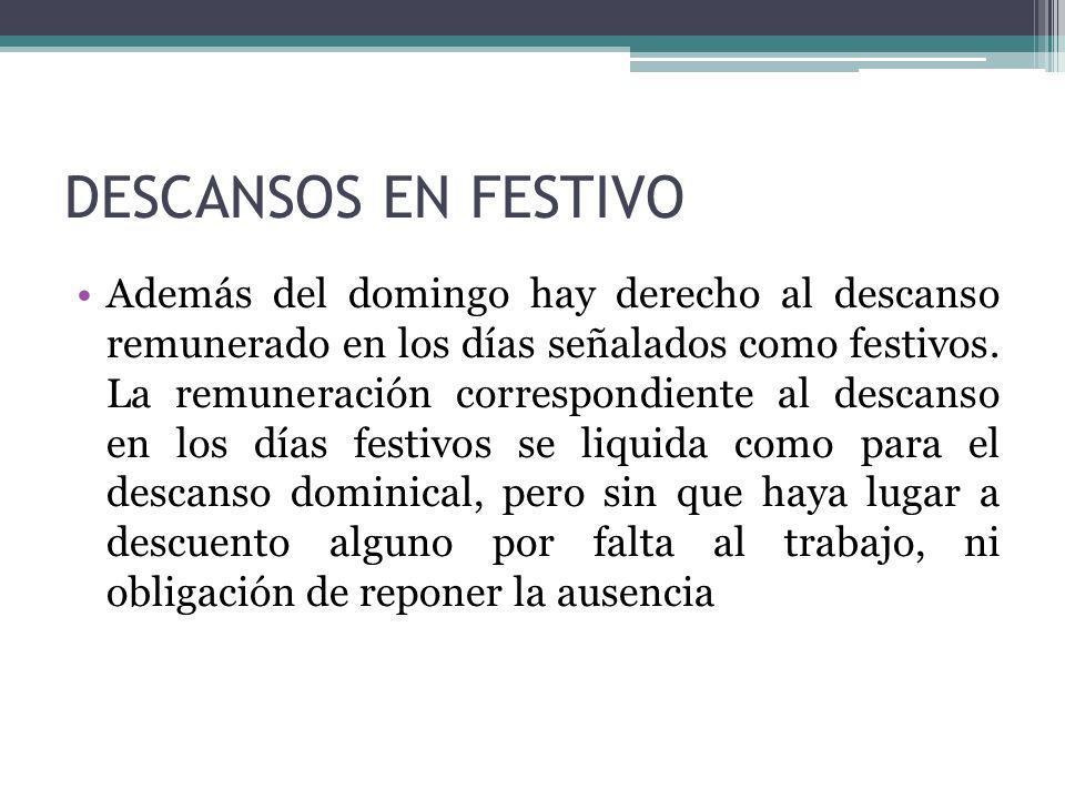 DESCANSOS EN FESTIVO Además del domingo hay derecho al descanso remunerado en los días señalados como festivos. La remuneración correspondiente al des