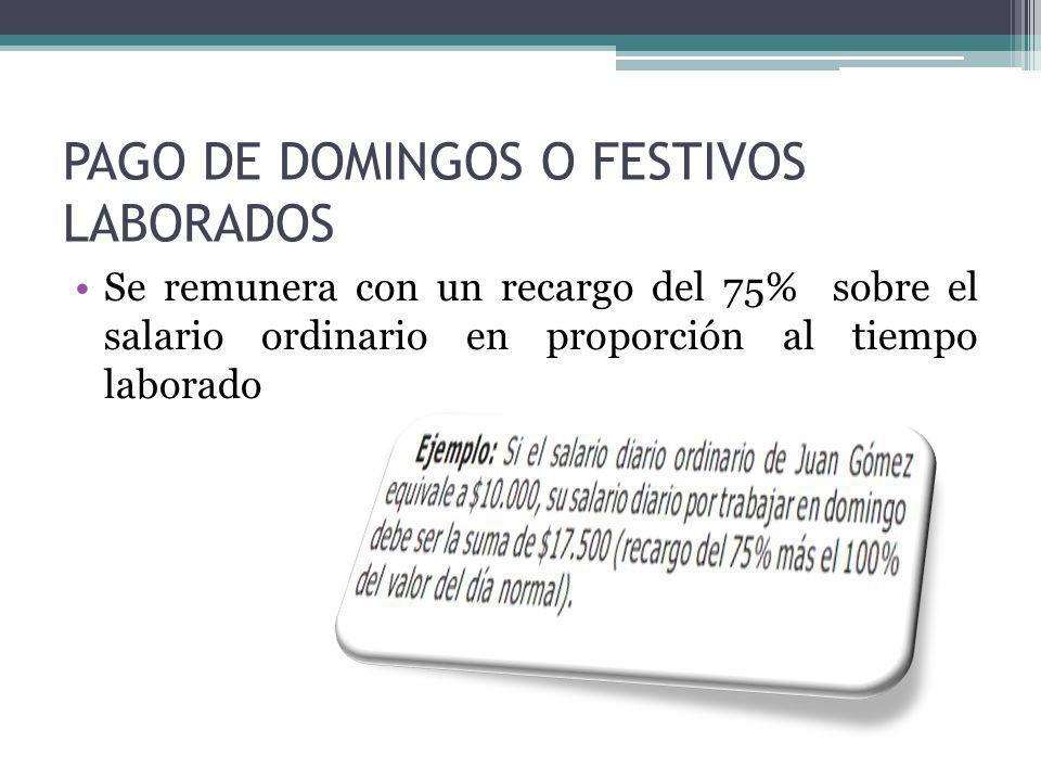 PAGO DE DOMINGOS O FESTIVOS LABORADOS Se remunera con un recargo del 75% sobre el salario ordinario en proporción al tiempo laborado