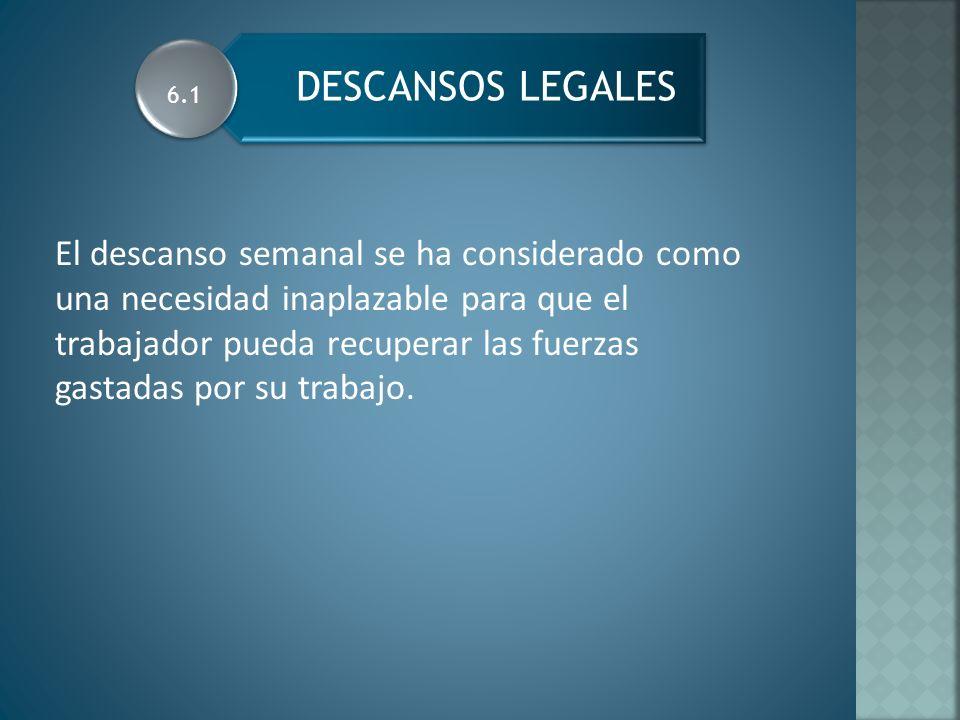 CONCEPTO Y RAZON DE LOS DESCANSOS LEGALES Art.