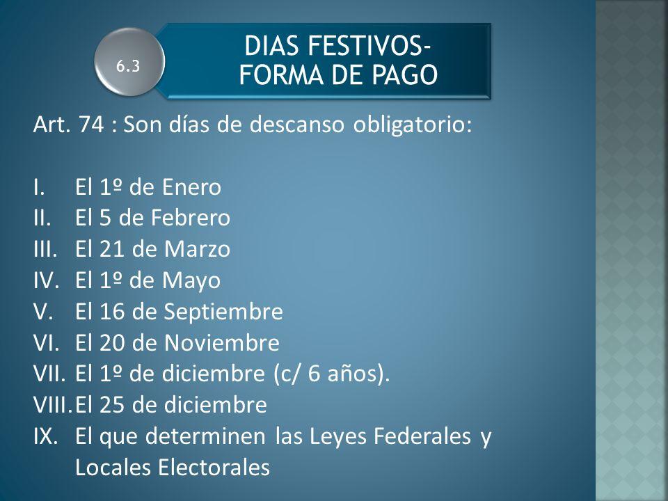 DIAS FESTIVOS- FORMA DE PAGO Art.