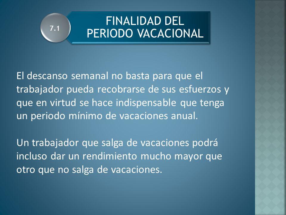 PERIODO DE VACACIONES SEGÚN ANTIGUEDAD 7.2