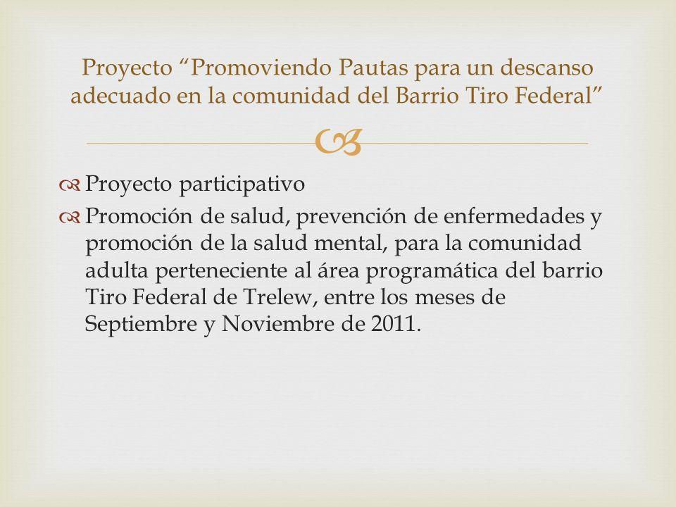 Proyecto participativo Promoción de salud, prevención de enfermedades y promoción de la salud mental, para la comunidad adulta perteneciente al área p