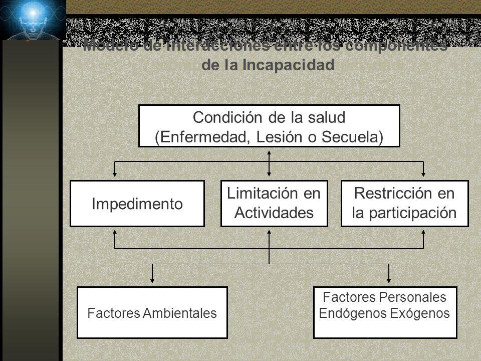 Modelo de interacciones entre los componentes de la Incapacidad Condición de la salud (Enfermedad, Lesión o Secuela) Impedimento Perdida de Funciones o de Estructuras físicas o mentales Factores Ambientales Factores Personales Endógenos Exógenos Trabajo Habitual Restricciones Modelo de interacciones entre los componentes de la Incapacidad