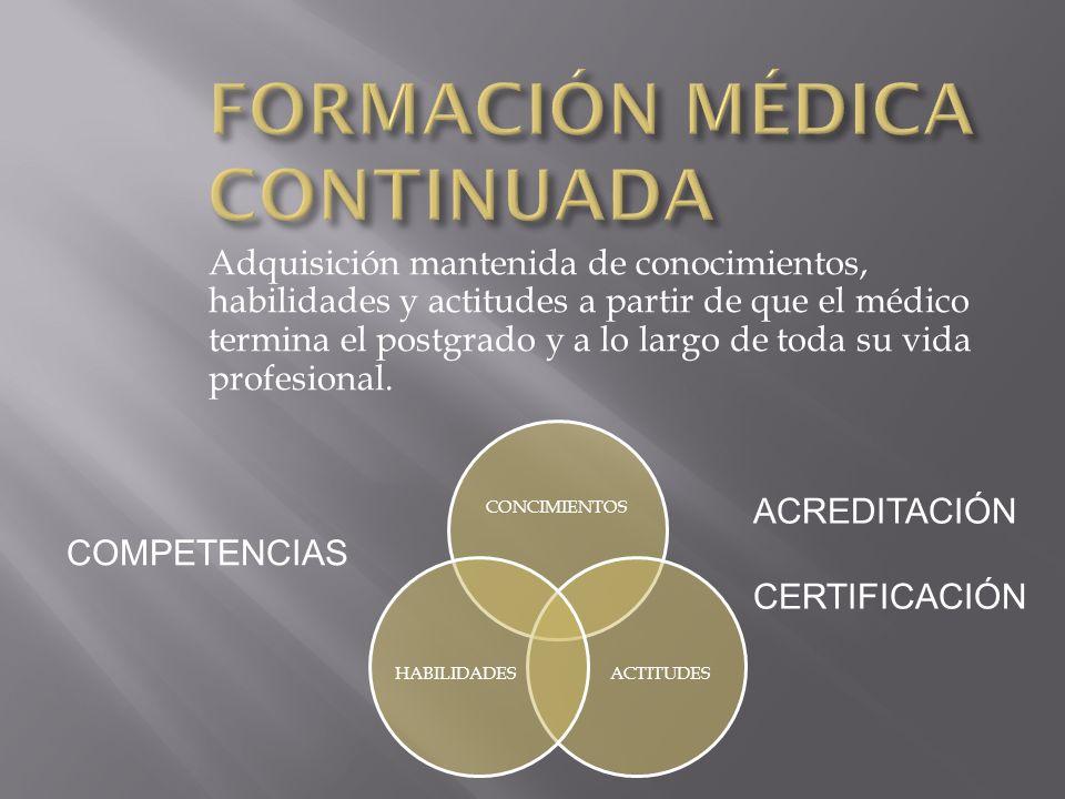 Adquisición mantenida de conocimientos, habilidades y actitudes a partir de que el médico termina el postgrado y a lo largo de toda su vida profesiona