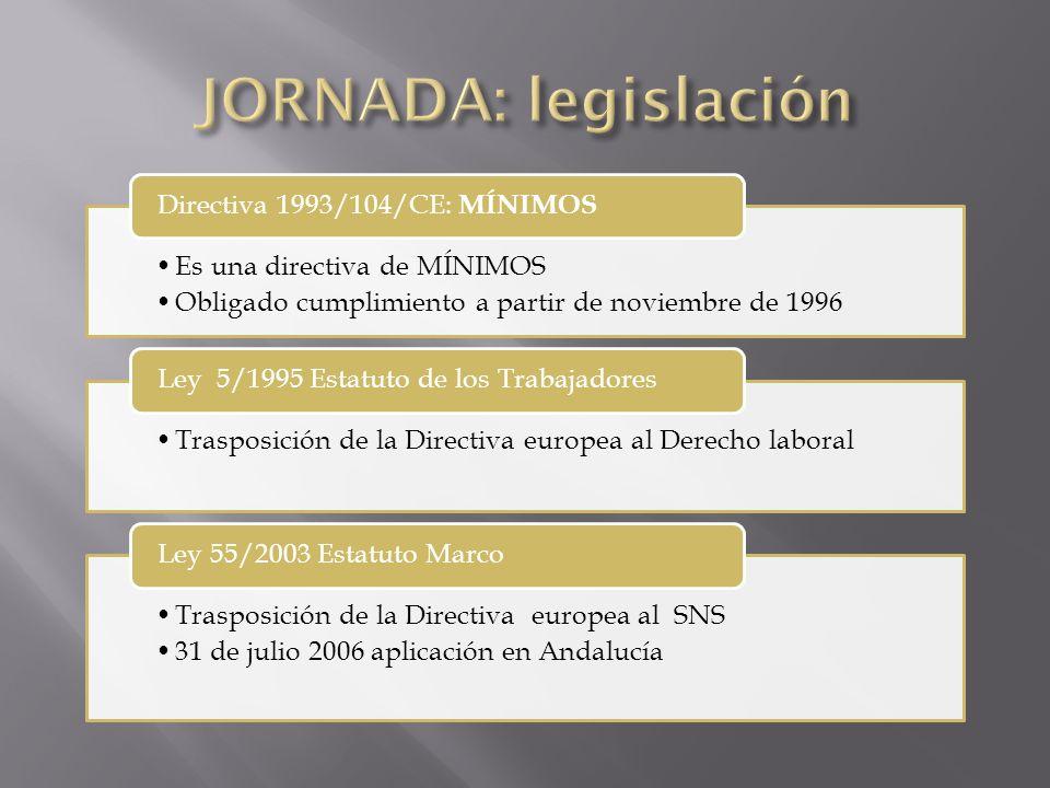 Es una directiva de MÍNIMOS Obligado cumplimiento a partir de noviembre de 1996 Directiva 1993/104/CE: MÍNIMOS Trasposición de la Directiva europea al