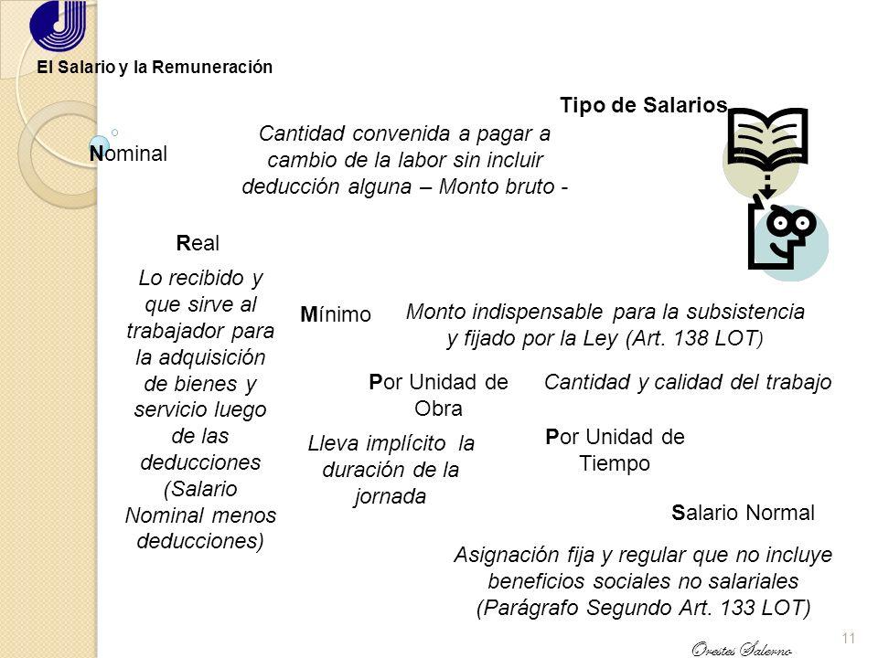 10 Orestes Salerno El Salario y la Remuneración El Salario en el Marco Legal Venezolano Constitución Nacional de la República Bolivariana de Venezuela