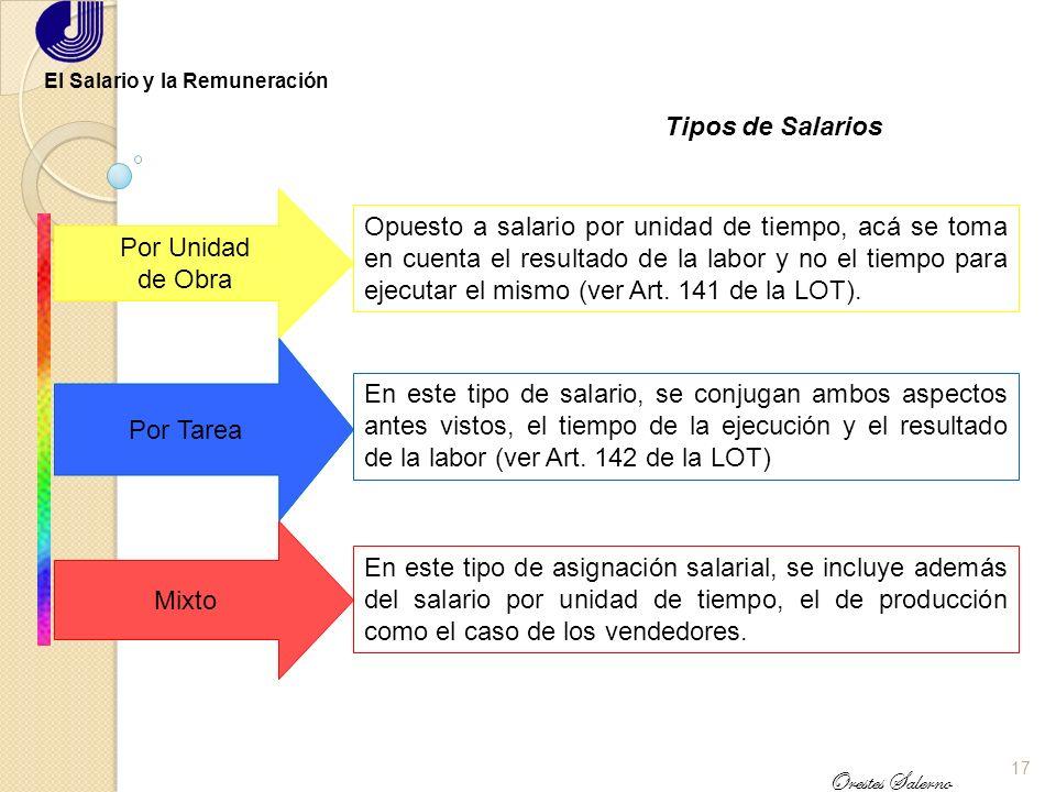 16 Orestes Salerno El Salario y la Remuneración Tipos de Salarios Mínimo Debe permitir al trabajador y su grupo familiar, la recomposición del poder a