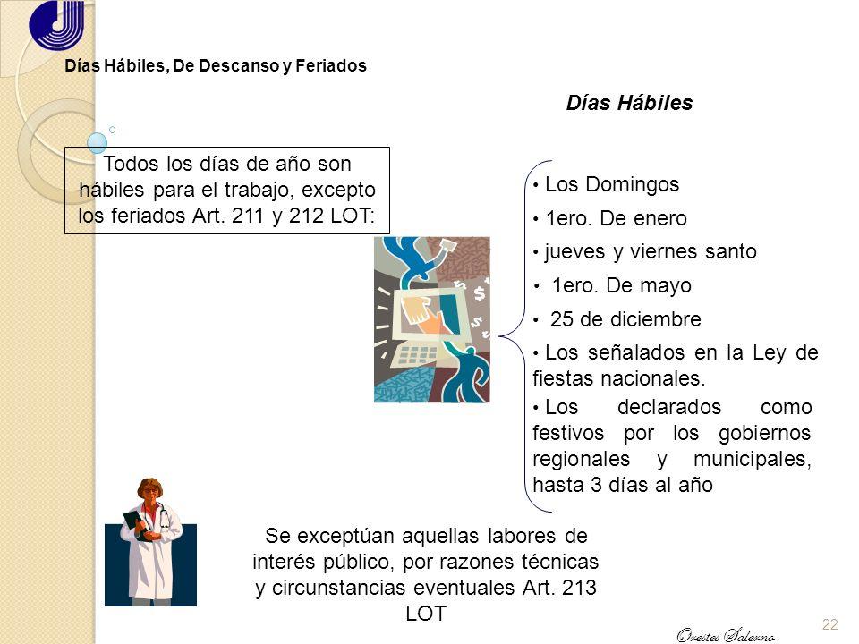 21 Orestes Salerno La Jornada de Trabajo Otras Consideraciones Posibilidad de convenir en una jornada diurna por 9 horas de labor Art. 196 LOT Labor d
