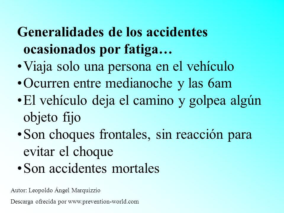 Generalidades de los accidentes ocasionados por fatiga… Viaja solo una persona en el vehículo Ocurren entre medianoche y las 6am El vehículo deja el c