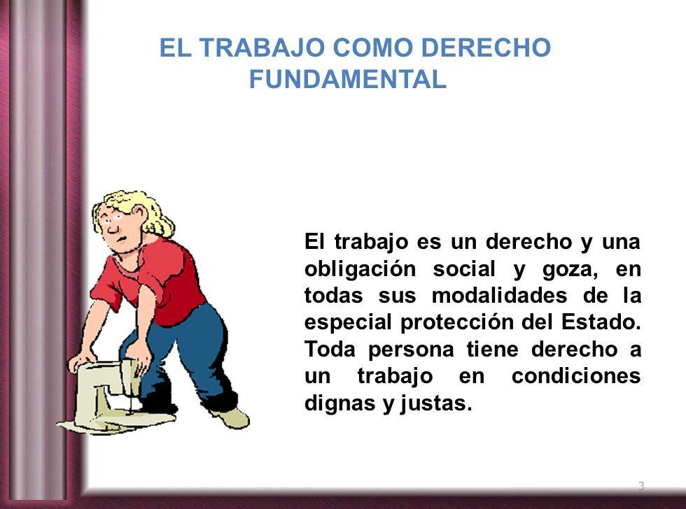 3 El trabajo es un derecho y una obligación social y goza, en todas sus modalidades de la especial protección del Estado. Toda persona tiene derecho a