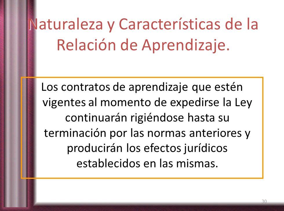 Naturaleza y Características de la Relación de Aprendizaje. Los contratos de aprendizaje que estén vigentes al momento de expedirse la Ley continuarán