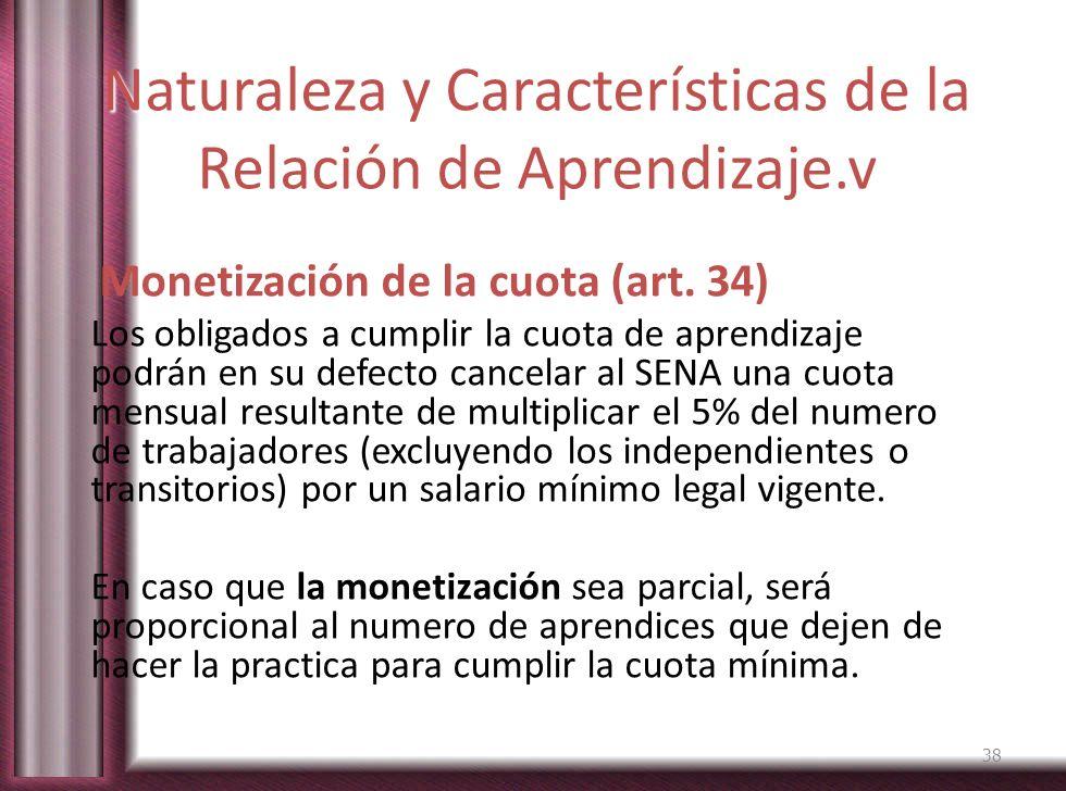 Naturaleza y Características de la Relación de Aprendizaje.v Monetización de la cuota (art. 34) Los obligados a cumplir la cuota de aprendizaje podrán