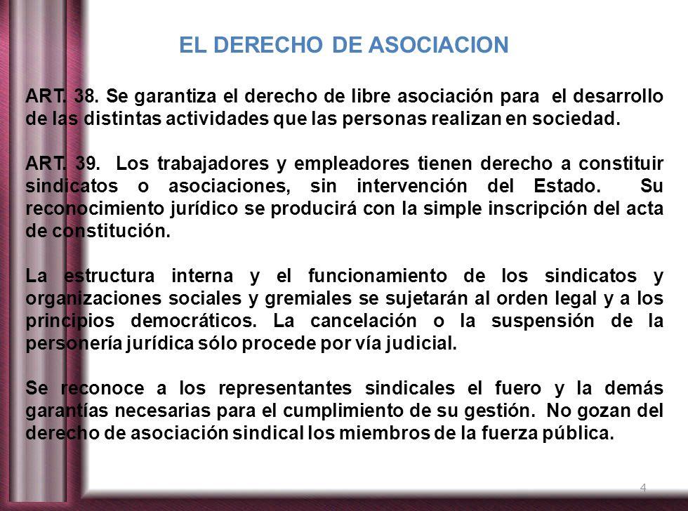 4 EL DERECHO DE ASOCIACION ART. 38. Se garantiza el derecho de libre asociación para el desarrollo de las distintas actividades que las personas reali