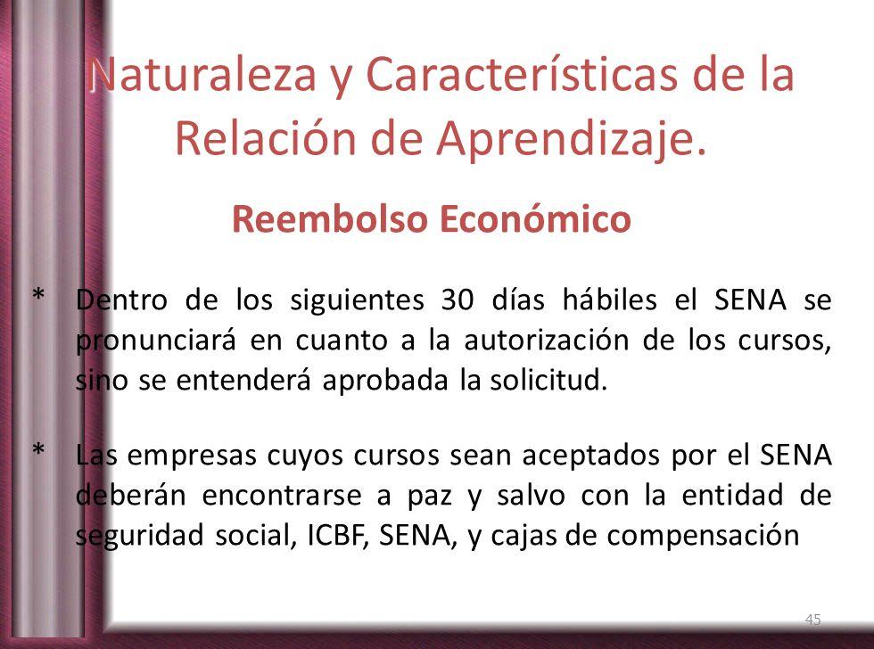Naturaleza y Características de la Relación de Aprendizaje. Reembolso Económico * Dentro de los siguientes 30 días hábiles el SENA se pronunciará en c