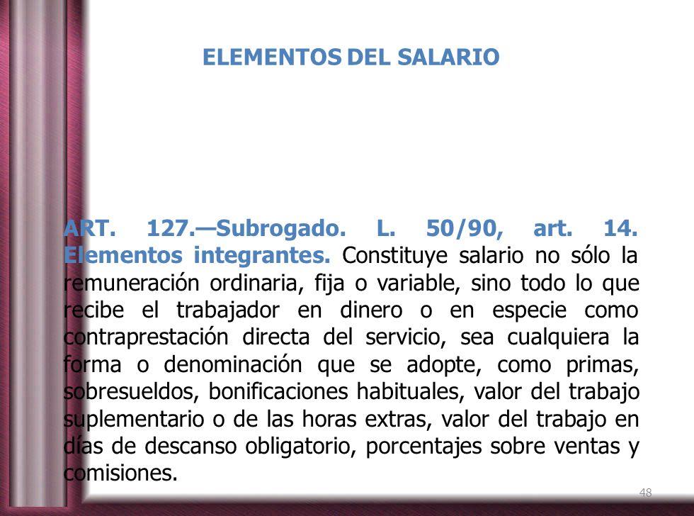 ELEMENTOS DEL SALARIO ART. 127.Subrogado. L. 50/90, art. 14. Elementos integrantes. Constituye salario no sólo la remuneración ordinaria, fija o varia