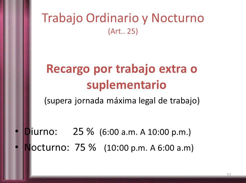 Trabajo Ordinario y Nocturno (Art.. 25) Recargo por trabajo extra o suplementario (supera jornada máxima legal de trabajo) Diurno: 25 % (6:00 a.m. A 1