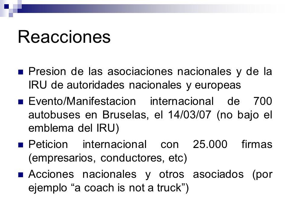 Reacciones Presion de las asociaciones nacionales y de la IRU de autoridades nacionales y europeas Evento/Manifestacion internacional de 700 autobuses