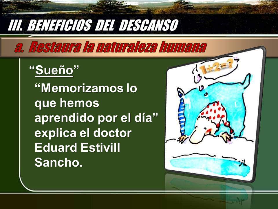 SueñoSueño Memorizamos lo que hemos aprendido por el día explica el doctor Eduard Estivill Sancho. III. BENEFICIOS DEL DESCANSO