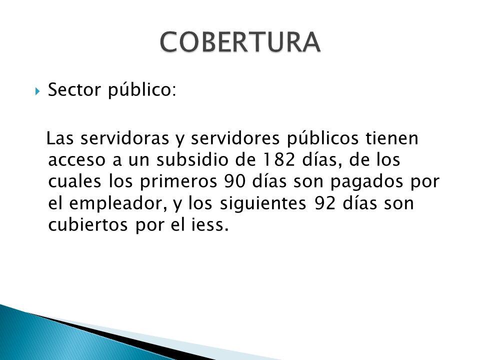 Sector privado: Los empleados amparados por el código de trabajo tienen acceso a un subsidio de 182 días, de los cuales los tres primeros días son pagados por el empleador, y a partir del cuarto día son cubiertos por el iess.