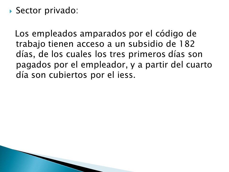 Sector privado: Los empleados amparados por el código de trabajo tienen acceso a un subsidio de 182 días, de los cuales los tres primeros días son pag