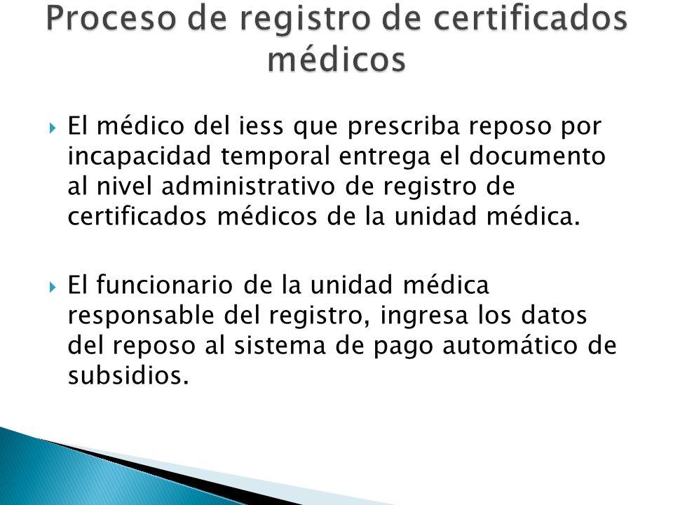El médico del iess que prescriba reposo por incapacidad temporal entrega el documento al nivel administrativo de registro de certificados médicos de l