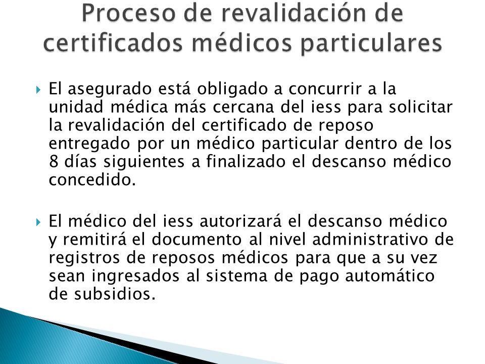 El asegurado está obligado a concurrir a la unidad médica más cercana del iess para solicitar la revalidación del certificado de reposo entregado por