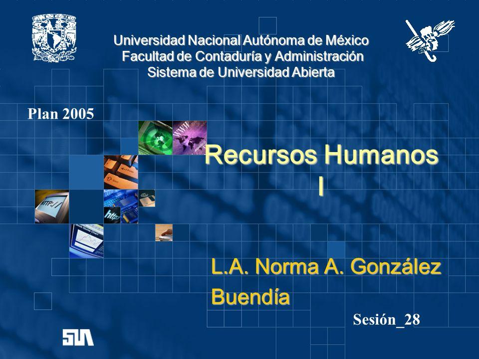 Universidad Nacional Autónoma de México Facultad de Contaduría y Administración Sistema de Universidad Abierta Recursos Humanos I L.A. Norma A. Gonzál