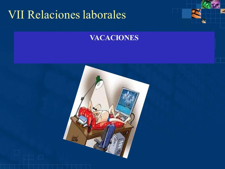 VII Relaciones laborales VACACIONES