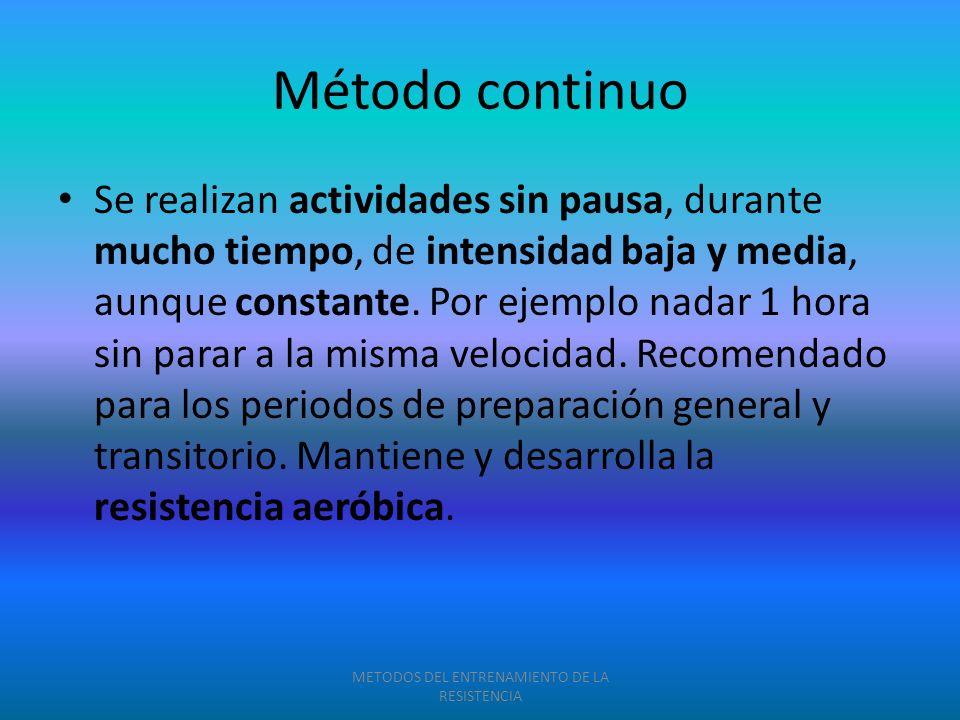 Método continuo Se realizan actividades sin pausa, durante mucho tiempo, de intensidad baja y media, aunque constante. Por ejemplo nadar 1 hora sin pa