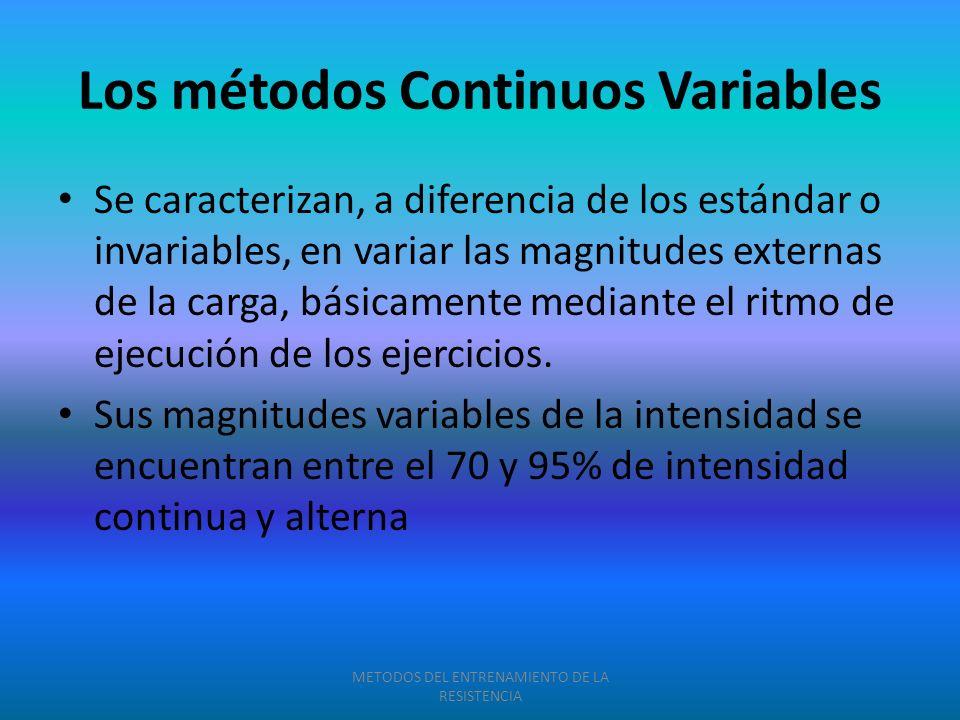 Los métodos Continuos Variables Se caracterizan, a diferencia de los estándar o invariables, en variar las magnitudes externas de la carga, básicament