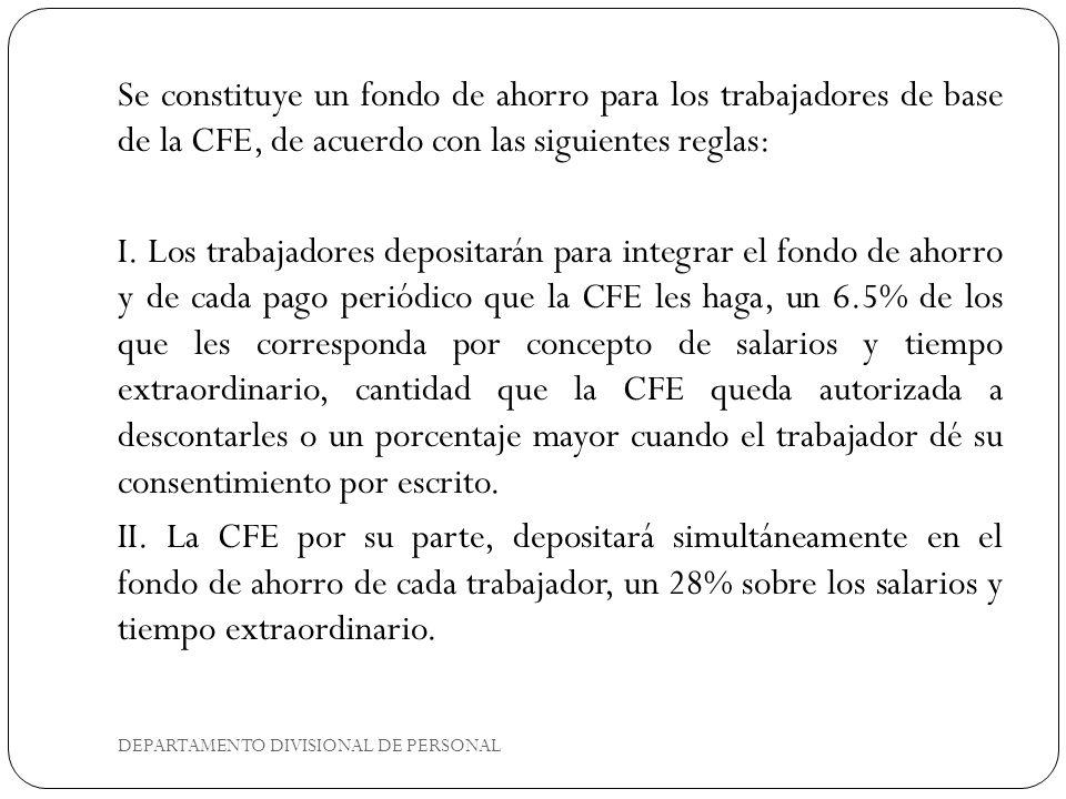 Se constituye un fondo de ahorro para los trabajadores de base de la CFE, de acuerdo con las siguientes reglas: I. Los trabajadores depositarán para i
