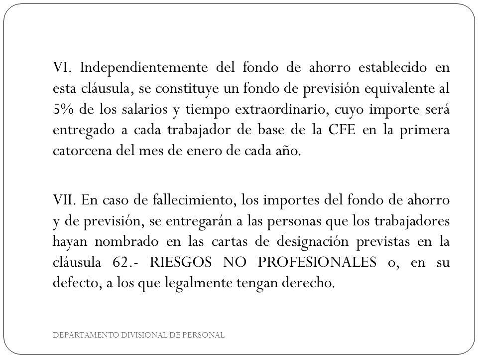 DEPARTAMENTO DIVISIONAL DE PERSONAL VI.