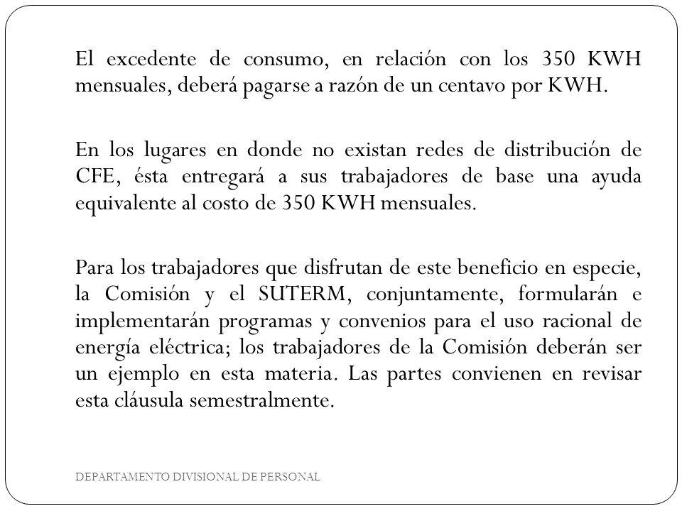 DEPARTAMENTO DIVISIONAL DE PERSONAL El excedente de consumo, en relación con los 350 KWH mensuales, deberá pagarse a razón de un centavo por KWH. En l