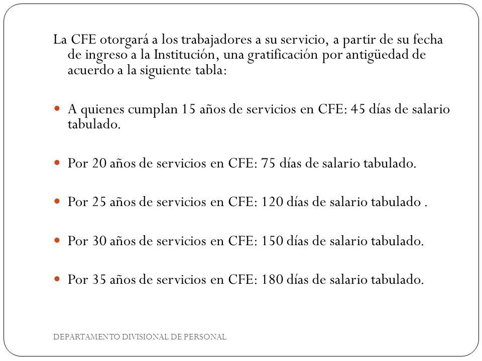 La CFE otorgará a los trabajadores a su servicio, a partir de su fecha de ingreso a la Institución, una gratificación por antigüedad de acuerdo a la siguiente tabla: A quienes cumplan 15 años de servicios en CFE: 45 días de salario tabulado.