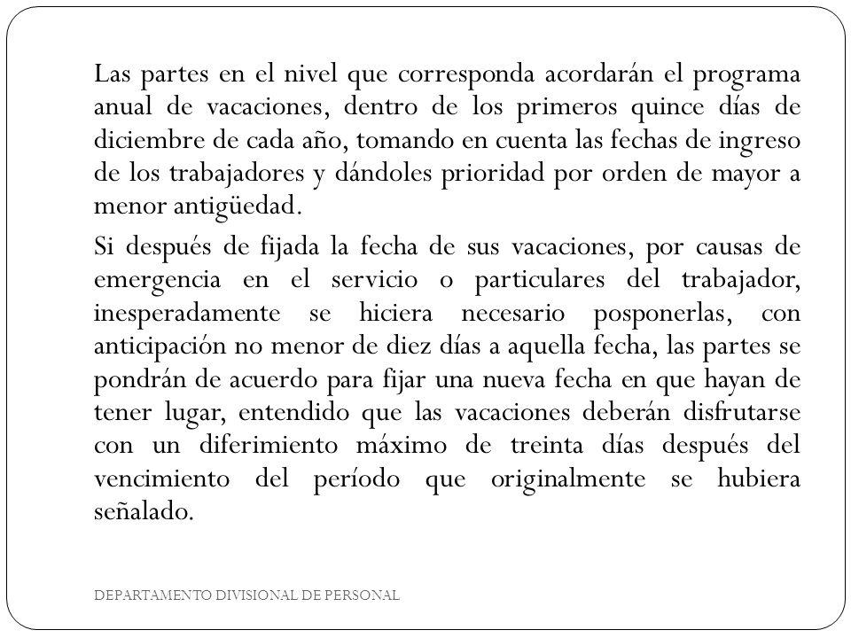 DEPARTAMENTO DIVISIONAL DE PERSONAL Los períodos que comprenden los permisos a que se refieren los puntos 1 y 3 del inciso B) que antecede, no disminuirán la antigüedad de los trabajadores.