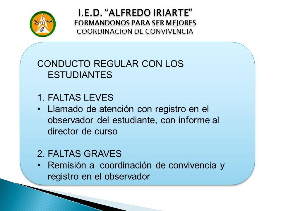 I.E.D. ALFREDO IRIARTE FORMANDONOS PARA SER MEJORES COORDINACION DE CONVIVENCIA I.E.D. ALFREDO IRIARTE FORMANDONOS PARA SER MEJORES COORDINACION DE CO