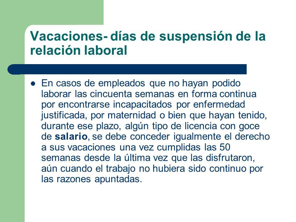Vacaciones- días de suspensión de la relación laboral En casos de empleados que no hayan podido laborar las cincuenta semanas en forma continua por en