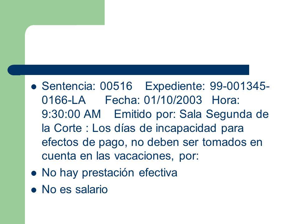 Sentencia: 00516 Expediente: 99-001345- 0166-LA Fecha: 01/10/2003 Hora: 9:30:00 AM Emitido por: Sala Segunda de la Corte : Los días de incapacidad par