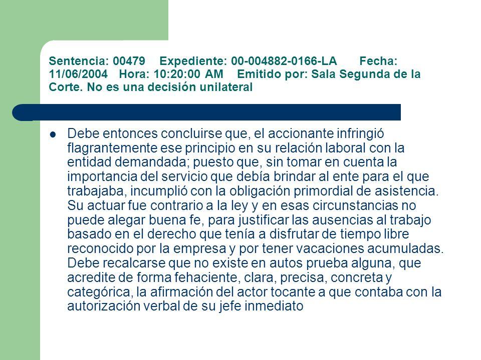 Sentencia: 00479 Expediente: 00-004882-0166-LA Fecha: 11/06/2004 Hora: 10:20:00 AM Emitido por: Sala Segunda de la Corte. No es una decisión unilatera