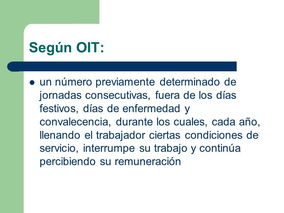 Según OIT: un número previamente determinado de jornadas consecutivas, fuera de los días festivos, días de enfermedad y convalecencia, durante los cua