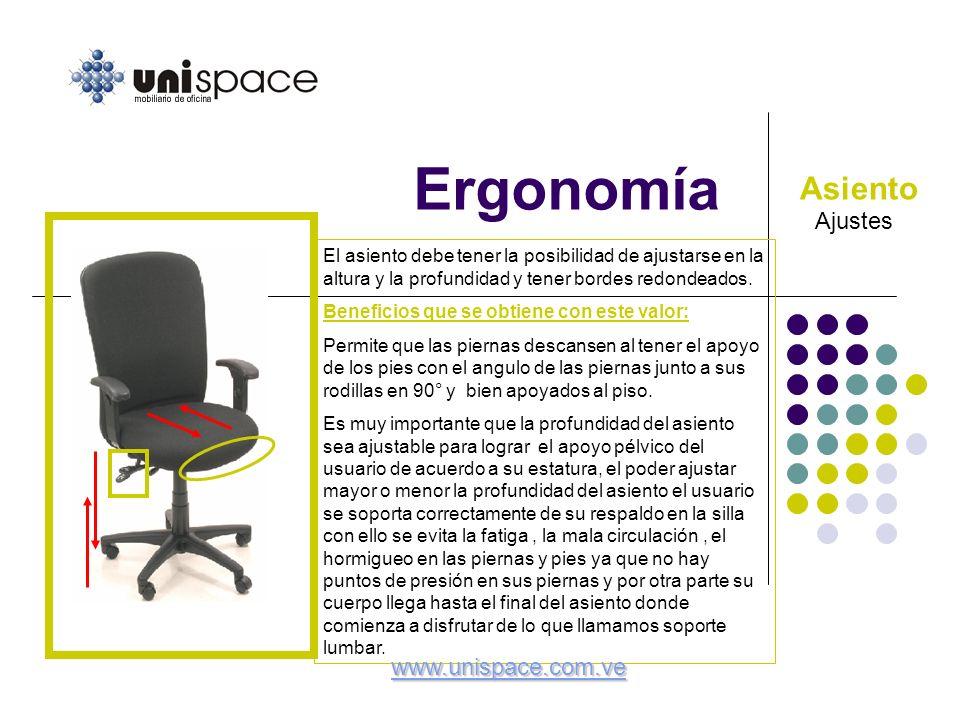 Ergonomía Ajustes Asiento El asiento debe tener la posibilidad de ajustarse en la altura y la profundidad y tener bordes redondeados. Beneficios que s